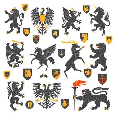 herald: Set Of Heraldic Animals And Elements. Vector Illustration