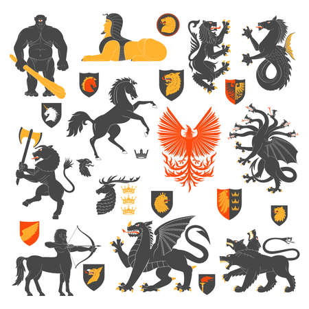 hydra: Set Of Heraldic Animals And Elements. Vector Illustration