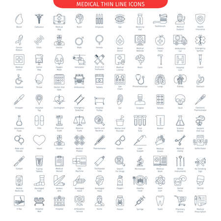 One Hundred Thin Line Icons Set Of Medical And Health Care. Web Elements Collection Vettoriali