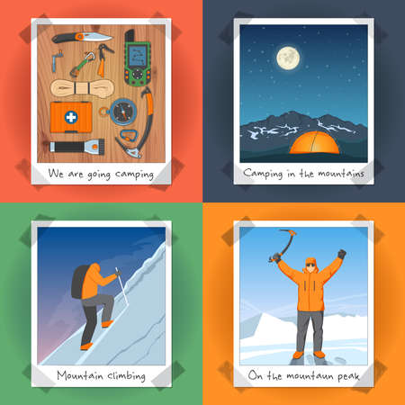 mountaineering: Illustration On The Theme Of Mountaineering, Climbing And Camping In The Form Of Photos. Colorful 2x2 Design Concept Set. Vector illustration Illustration