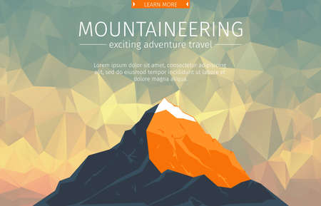 Landscape With Mountain Peaks On Triangulated Background. Polygonal Art. Modern Design Vector Illustration