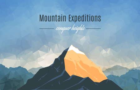 Landschaft mit Bergspitzen auf Triangulierte Hintergrund. Polygonal Art. Berg Expedition Banner. Modernes Design Vector Illustration