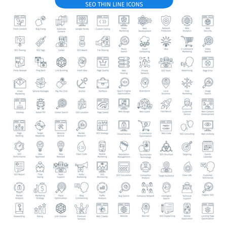 One Hundred Thin Line Icons Set Of Internet And Development. Web Elements Collection