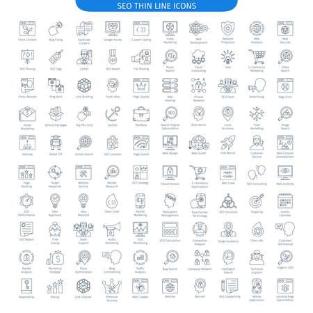 Une centaine d'icônes de lignes fines d'Internet et de développement. Collection Elements Web Vecteurs