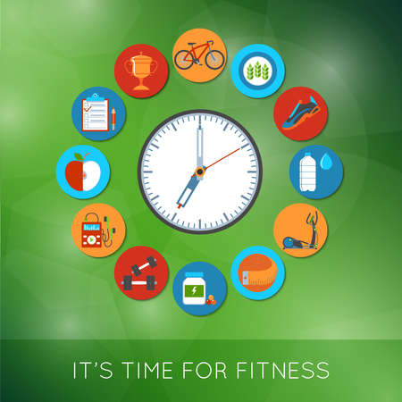 Fitness And Sports Equipment Concept Icons Set. Vector illustration