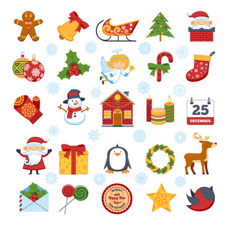 Colorful Cartoon Christmas Characters And Decorations Set