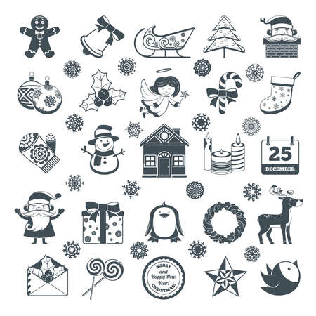 house of santa clause: Black Cartoon Christmas Characters And Decorations Set. Illustration