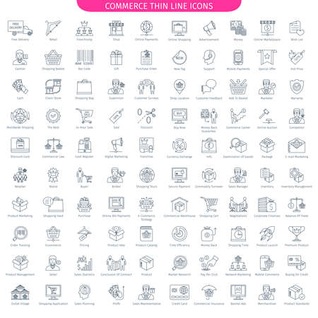 One Hundred Thin Line Icons Set Of Commerce And Shopping. 100 Linear style icons. Web Elements Collection