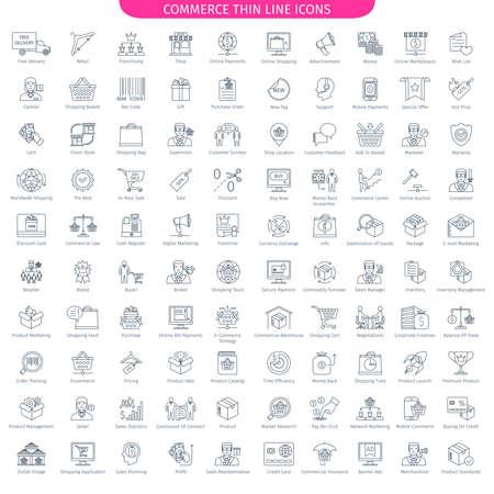 Une centaine d'icônes de lignes fines de commerce et de magasinage. 100 icônes de style linéaire. Collection d'éléments Web