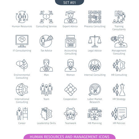 Human Resources And Management Icons Set. Linear style. illustration.