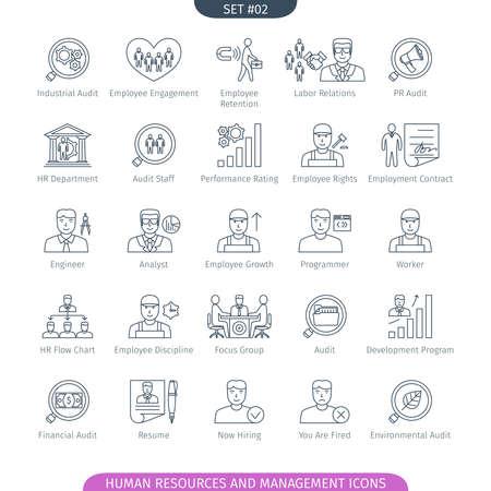 relaciones laborales: Los recursos humanos y los iconos de administración establecido. estilo lineal. ilustración.