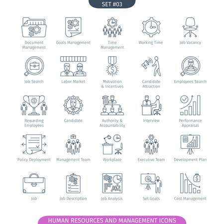 labor policy: Human Resources And Management Icons Set. Linear style. illustration.