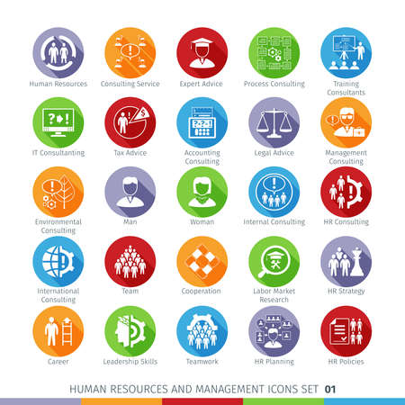 Modern Human Resources and Management Icons Set with Long Shadow. Isolated on White Background.