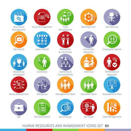 labor policy: Modern Human Resources and Management Icons Set with Long Shadow. Isolated on White Background.