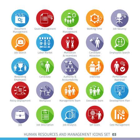 Modern Human Resources en management pictogrammen die met Long Shadow. Geïsoleerd op een witte achtergrond.