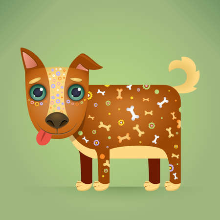 pretty smile: Cute Cartoon Dog with a Decorative Ornament on his Body. Vector Illustration.