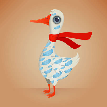 Cute Cartoon Goose with a Decorative Ornament on his Body. Illustration.