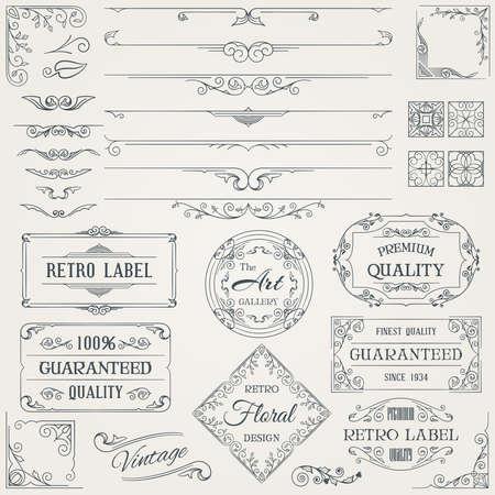 elementos: Elementos de diseño caligráfico retro y conjunto de decoración de página. Ilustración.