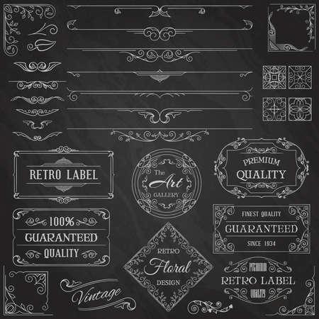 Elementos de diseño caligráfico de la vendimia
