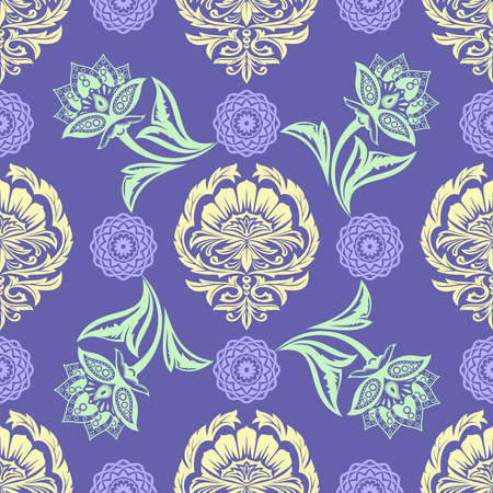 folkloric: Ethnic Floral Seamless Pattern. Folkloric Batik Ornament in the Oriental Style. Elegant Luxury Texture for Textile, Wallpapers, Backgrounds and Wrapping.