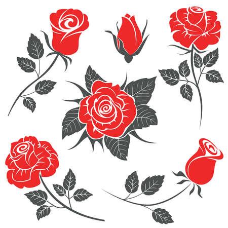 Silhouette di fiori di rosa isolato su sfondo bianco. Illustrazione Vettoriale