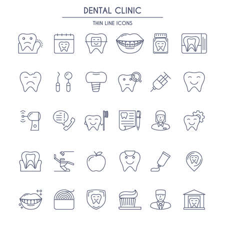 line material: Dental Clinic thin line Icons Set. Perfectly to your website, logos, advertisement, promotion material, sticker etc.