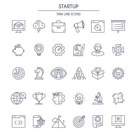 mince ligne Startup Icons Set. Vector illustration