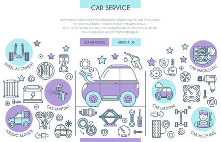 car icons: Car Service Illustration with Icons. Web Design Concept in Flat Line Style. Vector illustration Illustration