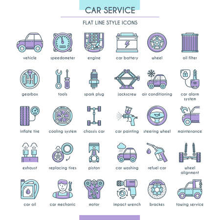 Car Service Icon Set in Flat Line Style. Vector illustration Vettoriali