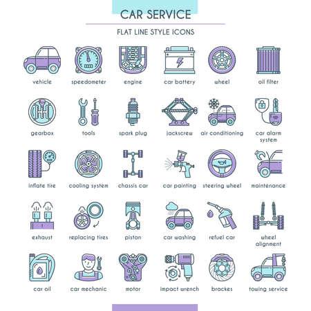 Zestaw ikon usługi samochodu w stylu linii płaskiej. Ilustracja wektorowa