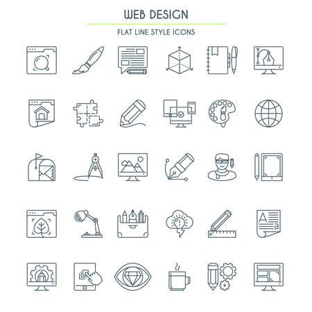 細い線スタイルの web デザイン アイコンを設定。ベクトル図