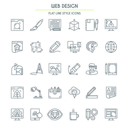 Webdesign Icon Set In Dun Line Style. Vector illustratie