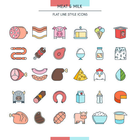 veal sausage: Meat and milk flat line icons set. Vector Illustration