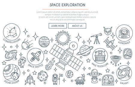 Space Exploration Banner with Icons. Web Design Concept in thin Line Style. Vector illustration Ilustração