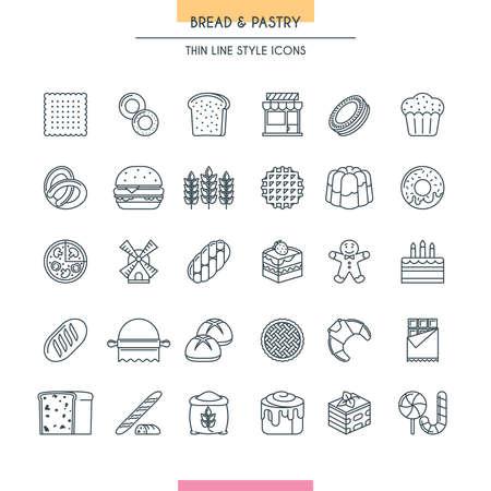 Bread and dessert thin line icons set. Vector Illustration Çizim