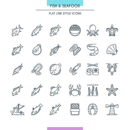Fish and seafood thin line icons set. Vector Illustration
