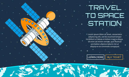 orbital station: Flat vector web pattern on the theme of travel to space station. Modern flat illustration with text
