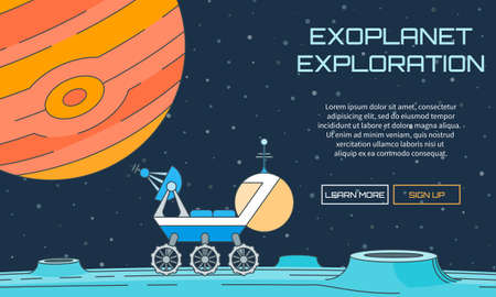 moon rover: Flat vector web pattern on the theme of exoplanet exploration. Modern flat illustration with text