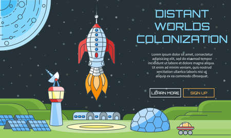 Flat vector web pattern on the theme of distant worlds colonization. Modern flat illustration with text