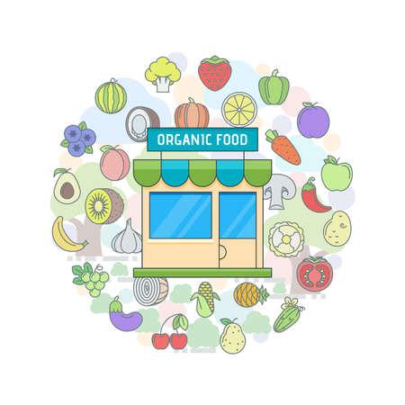 leaking: Organic food shop Illustration