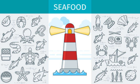 Seafood store banner Illustration