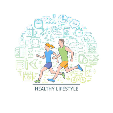 health and fitness: Healthy lifestyle banner3 Stock Photo