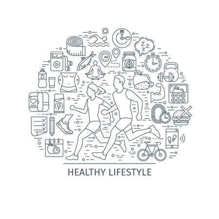 Healthy lifestyle concept. Design template with thin line icons on theme fitness, nutrition and dieting. running man and woman. Vector illustration Illusztráció