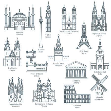 ヨーロッパの観光スポットのセット