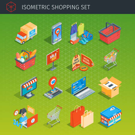 Shopping icons set. Isometric style. Highly detailed vector illustration Vectores