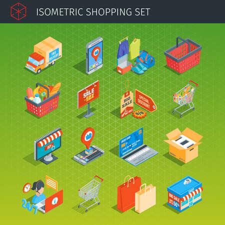 Shopping icons set. Isometric style. Highly detailed vector illustration Vettoriali