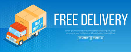 Free delivery service banner. Truck with a shopping box. Isometric concept. Highly detailed vector illustration Ilustracja