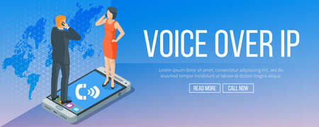 Voz sobre el banner del protocolo de internet. Concepto de Internet y tecnología. Llamadas VoIP. Ilustración de vector altamente detallado Ilustración de vector