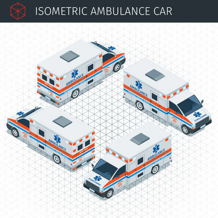 Isometric ambulance car. 3d vector transport icon. Highly detailed vector illustration