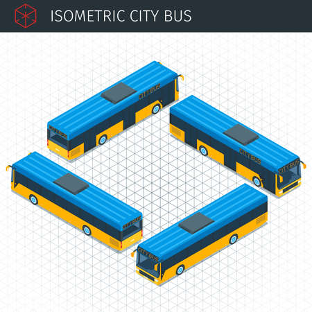 Isometric city bus. 3d vector transport icon. Highly detailed vector illustration